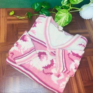 vintage pink knit oversized boyfriend sweater